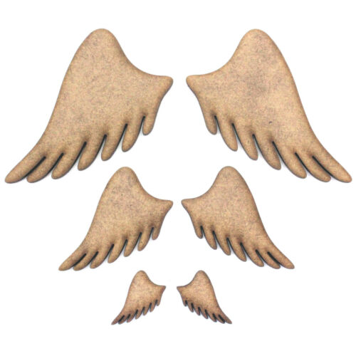 Decorations Pair Embellishments 2mm MDF Wood, Angel Wings Craft Shapes