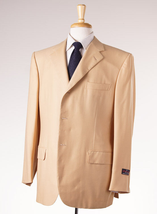 NWT 3695 D'AVENZA Golden Tan Woven 100% Cashmere Blazer 44 R Sport Coat