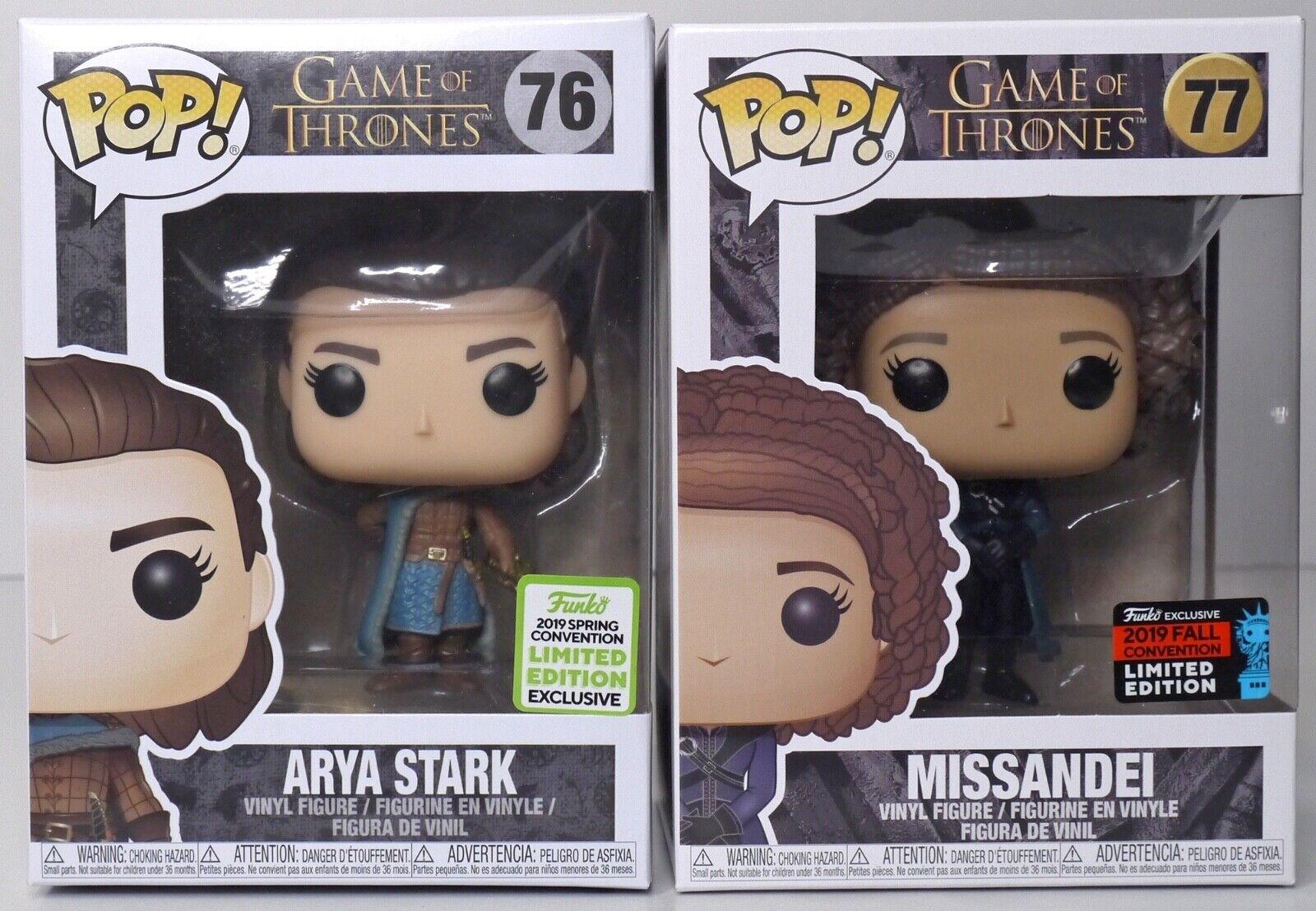 Pop Funko Game Of Thrones Arya Stark Assassin  76 & Missandei  77 LTD EDITIONS