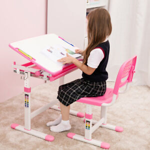 Adjustable-Children-039-s-Desk-and-Chair-Set-for-Kids-Student-Learning-Study-US-M0G9