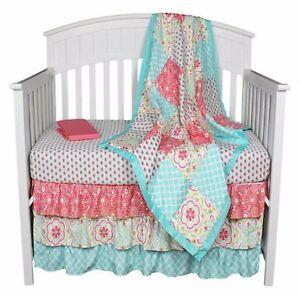 Baby Crib Bedding Girls Nursery Floral Boutique 4 Piece Set Turquoise Pink Ne