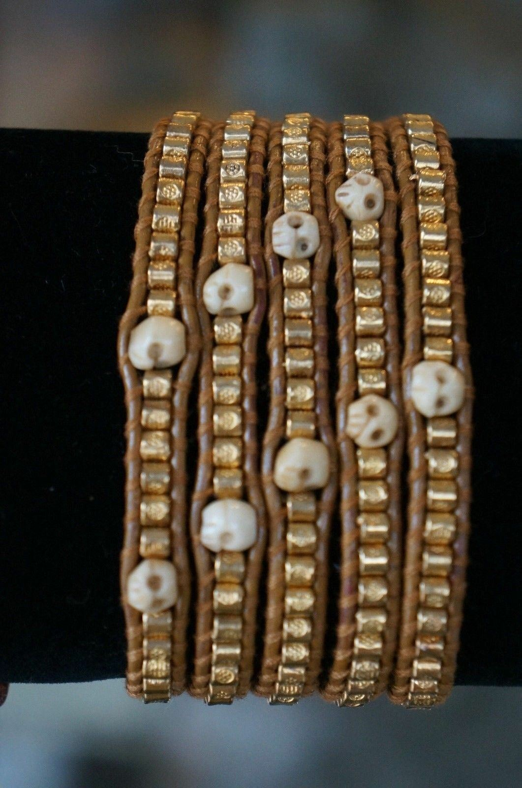 NEW Chan Luu gold Etched Bead Beige Skull Natural Leather 5 Wrap Bracelet