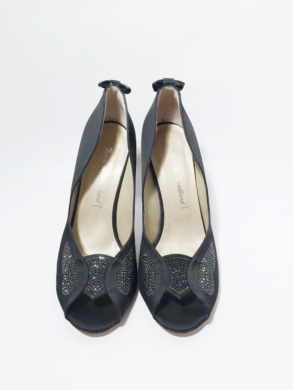 ultimi stili Terry De De De Havilland Dimensione 10 40 nero Silk Open Toe Heels  negozio online
