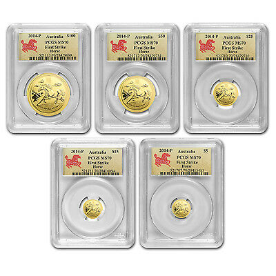 2014 Gold Australian Lunar Year of the Horse 5 Coin Set - MS-70 FS PCGS