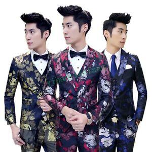 9b16831e01ae Floral Print Men Slim Fit Casual Coat Jacket Vest Pant Suits Wedding ...