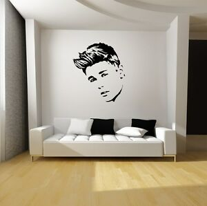 justin bieber wall art vinyl decal mural sticker starting at ebay. Black Bedroom Furniture Sets. Home Design Ideas