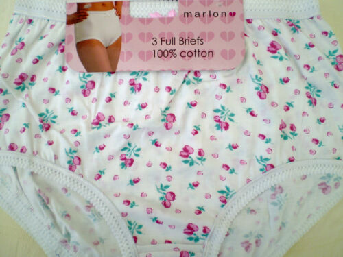 "6 PAIRS LADIES FLOWERED  COTTON FULL BRIEFS KNICKERS PLUS SIZES 36/"" HIP TO 66/"""