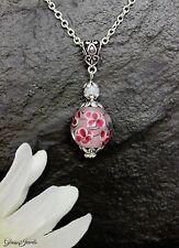 Glass Jewels Schöne Kette Halskette Lampwork Perle Blume Blüte Filigran #MA041