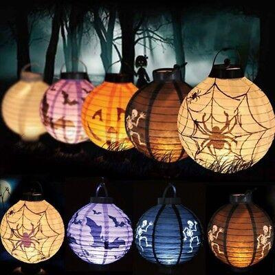 LED Paper Pumpkin Lantern Spider Bat Hanging Light Lamp Halloween Party Decor