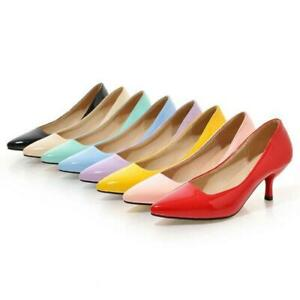 Women-Patent-leather-Pointed-Toe-Kitten-Heels-Dress-Shoes-Slip-On-Classic-Pumps