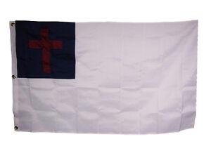 5x8-Embroidered-Sewn-Christian-Cross-600D-Nylon-Flag-5-039-x8-039-Grommets