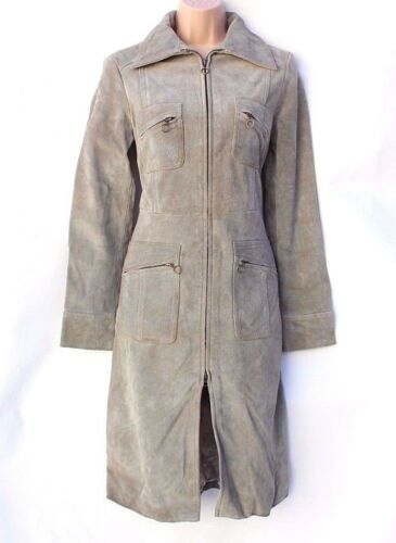 Length Knee Grey Jacket Mango S Fitted Women's Vintage Mng Coat Real Leather wYqXWAT
