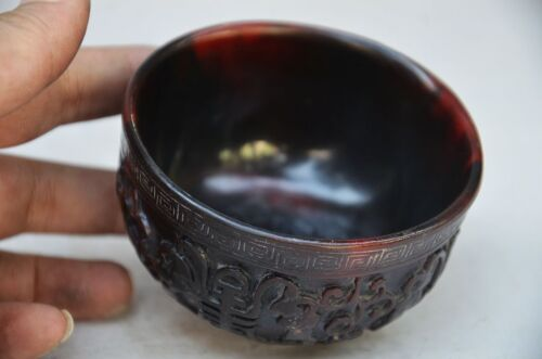 DELICATE CHINESE OX HORN HAND CARVED BOWL