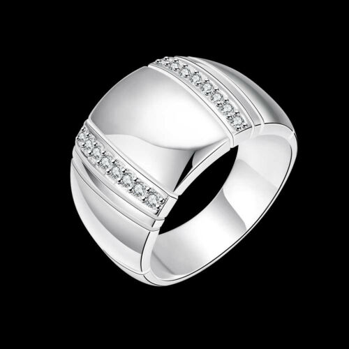 925 Sterling Silver Jewelry Large Lisse Homme Anneau Femme Bague Taille 8 9 10 RB777