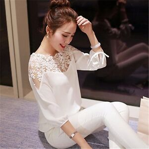 Fashion-Women-Summer-Loose-Casual-Chiffon-Long-Sleeve-Lace-T-Shirt-Tops-Blouse