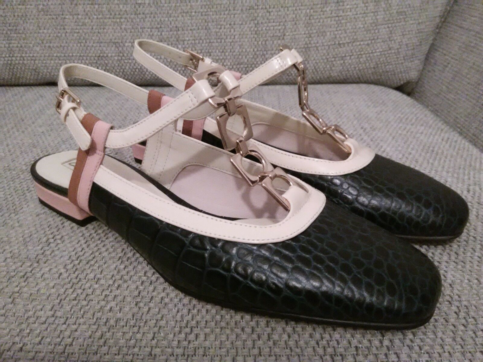 Orla Kiely Clark's, Barbara Navy bluee Leather shoes, UK 6.5, EUR 40, Retro