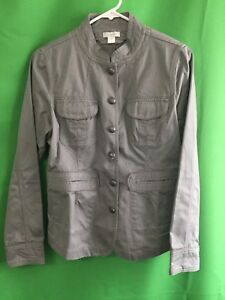 8020-GARNET-HILL-sz-6-gray-cotton-light-jacket-fitted-button-front-pockets
