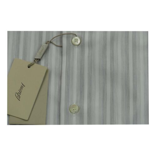 Grey Uk s H 17 Brioni Handmade Bnwt Eu Xxl Sz Cotton Mens Stripe Shirt 43 wxOwnAtS
