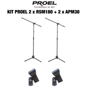 PROEL-RSM180-APM30-pacchetto-risparmio-COPPIA-aste-per-microfono-2-supporti