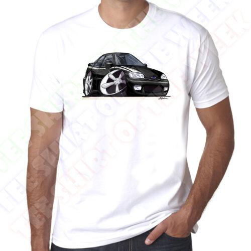 WickedArtz Cartoon Car Black Ford Escort Mk6 GTI Mens 100/% Cotton White T-Shirt