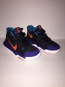 online store d9d50 56374 Details about Boys Preschool Nike Kyrie 3 Basketball Black/Concord/Orange  869985 007 Size 11c