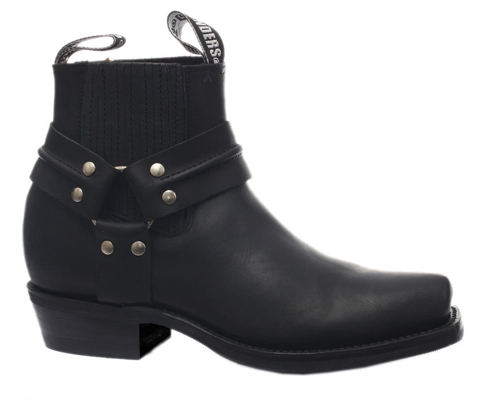 Grinders Renegade Lo Nero unisex leather boot Cowboy Western Biker Stivaletti