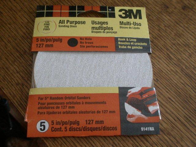 5-pack Fine 120 Grit 3M Hookit 9141DCNA 5-Inch No Hole Discs