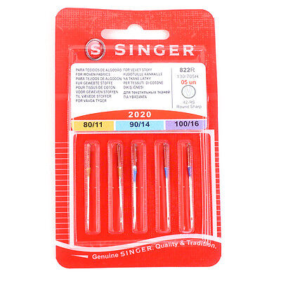Singer Universal Sewing Machine Needles mixed pack of 5
