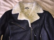 womens large Harley Davidson black shearling bomber sherpa motorcycle jacket L