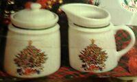 Vintage Paul Marshall Fine Ceramic Creamer Sugar Set Taiwan Holiday Christmas