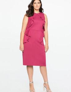 1fabbae8d20a Eloquii Dress Sz 22 Pink Sheath Classic Cascading Ruffles Sleeveless ...