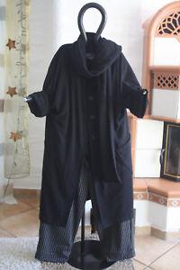 met 54323 5 Luukaa Lagenlook 48 zwart wollen wollen winterjas jas sjaal QeodrCxWB