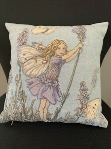 Pillow-Cover-Insert-Decorative-Italian-Tapestry-Flowers-Fairy-Light-Blue-Vintage