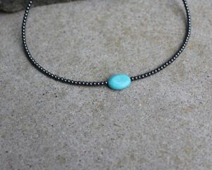 Men/'s Surfer Turquoise and Silver Bead Necklace Choker Black Rubber Choker