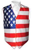 Men's Dress Vest American Flag Design Red White Blue Color For Suit Or Tuxedo S