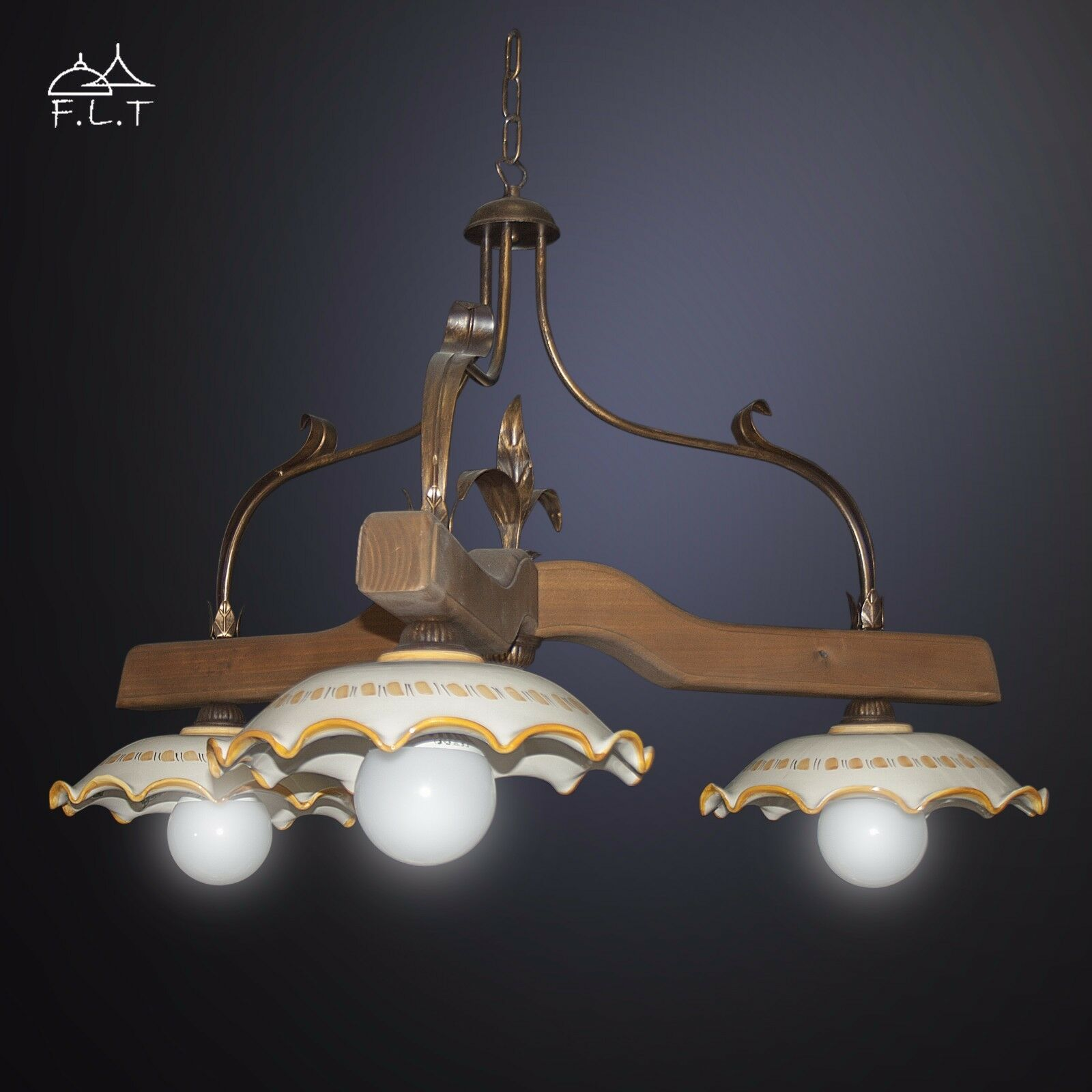 Bilanciere lampadario legno 3L rustico in ferro battuto ceramica di caltagirone
