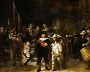 Rembrandt The Night Watch Dutch Militia Painting 8x10 Real Canvas Art Print