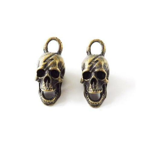 Buddly Crafts Antique Bronze Metal Charms 2pcs Skulls 13mm x 30mm