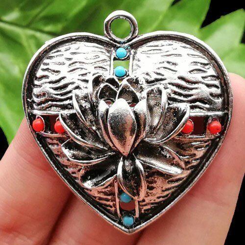 1Pcs Tibetan silver /& Man-made Turquoise Coeur Pendentif Perle 42x7mm LL1201-4