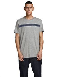 Jack-amp-Jones-Mens-T-shirts-Front-Strips-Crew-Neck-Short-Sleeves-Casual-Tee-Tops