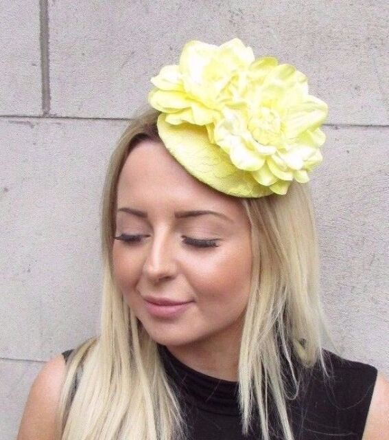 Lemon Light Yellow Flower Fascinator Rose Races Wedding Hat Clip Hair Vtg  3134 b1a52c70578