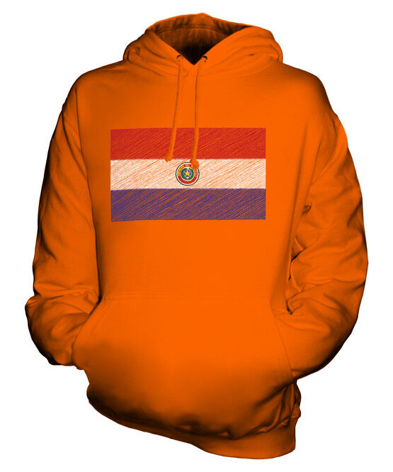 PARAGUAY SCRIBBLE FLAG UNISEX HOODIE TOP GIFT PARAGUÁI PARAGUAYAN