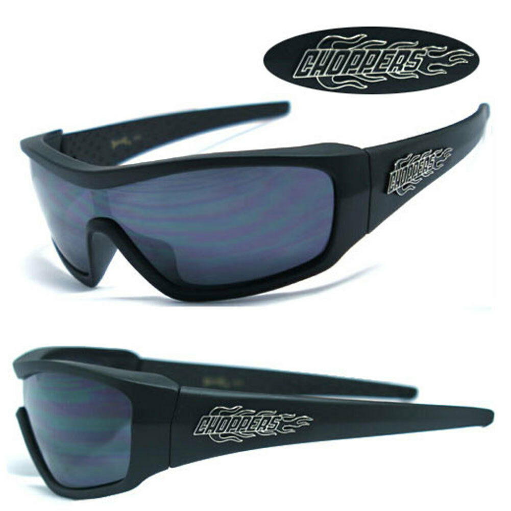 Mens Choppers Motorcycle Riding Sports Fire Logo Sunglasses Matte Black C40