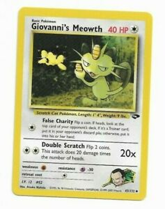 Pokemon Giovanni/'s Meowth 1st Edition Gym Challenge 43//132 Pack to Sleeve