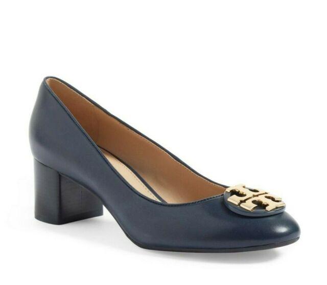 Janey 50mm Calf Leather Heel Pump Navy