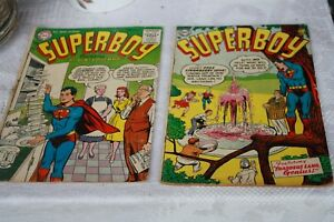 2-Superboy-Comic-DC-37-amp-41-date-1954-amp-1955-Super-Boy-Comics-Superman-as-a-bo