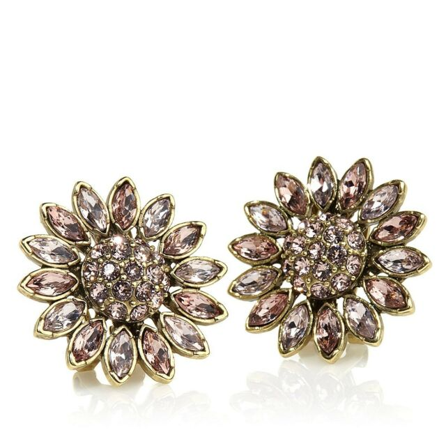 Heidi Daus Divine Miss Daisy Crystal Button Earrings 2 lovely Colors SWAROVSKI