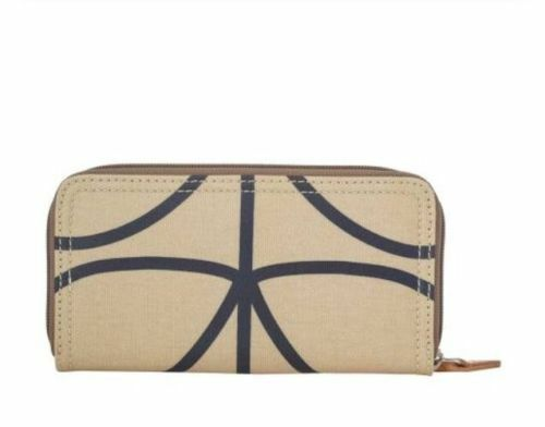 BNWT ORLA KIELY Giant linéaire Tige Imprimé Big Zip Around Wallet Purse afficher le titre d'origine