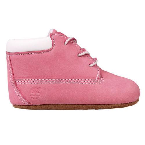 Timberland 10415R Infants Crib Bootie Shoe Beanie Pink Gift Set Babies Unisex