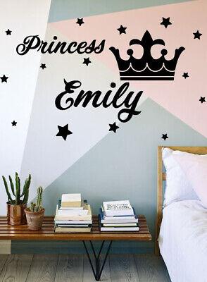 Personalised Name Wall Stickers Girls Bedroom Princess Custom Vinyl Art Kids DIY